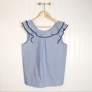 Jcrew blue ruffle blouse sleeveless 6 shirt top
